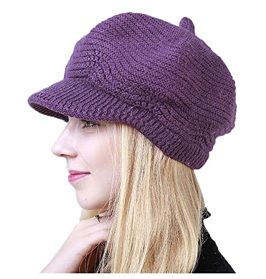 c293a8d38be26 Molodo Women s Winter Warm Slouchy Cable Knit Beanie Hat Ski Caps with  Visor Dark Purple