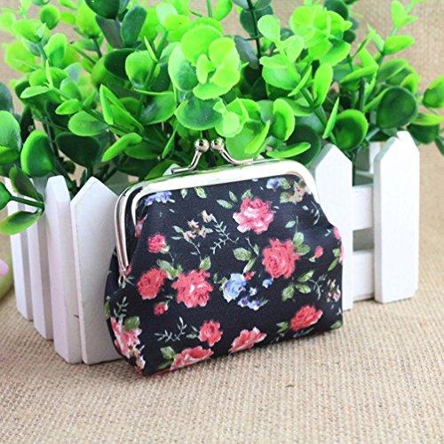 Vovotrade Donne Lady Retro fiore dell'annata piccolo portafoglio Hasp della borsa della frizione (Nero)