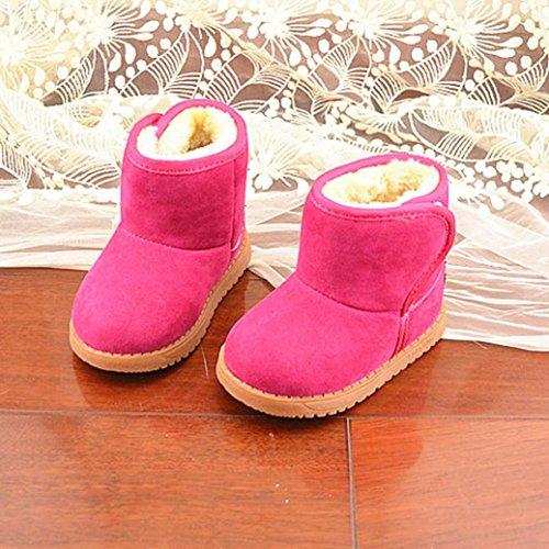 Tefamore Zapatos Patucos de Invierno Soft Sole de Algodón para Bebés rosa caliente 2