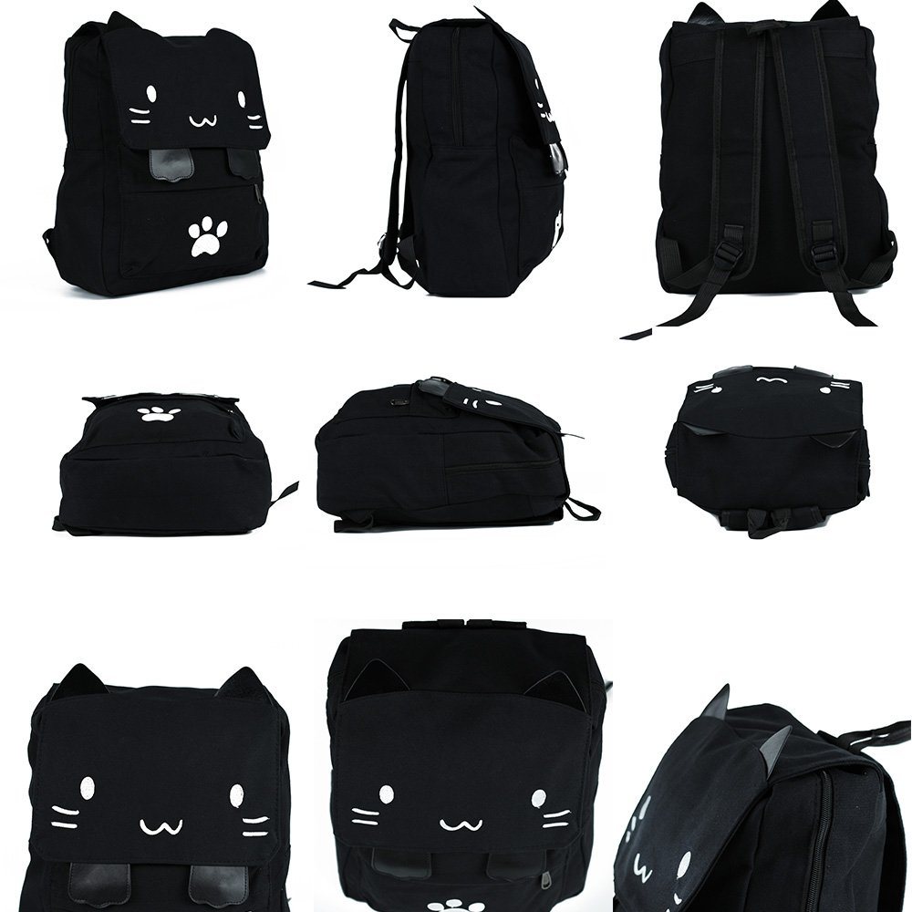 Black College Cute Cat Embroidery Canvas School Laptop Backpack Bags For Women Kids Plus Size Japanese Cartoon Kitty Paw Schoolbag Ruchsack Girls Boys Outdoor Accessories Daypack Bookbag (01White) by DemonChest (Image #6)