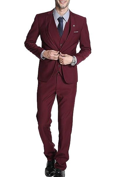 Trajes para Hombre 3 Piezas Slim Fit Clásico Formal de la Boda Chaquetas de Traje de Smoking Un botón de un Solo Pecho de Fiesta de Baile Chaqueta de ...