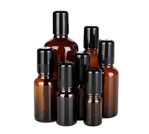 Juego de 3 tarros de botellas de cristal de ámbar con bolas de rodillo de acero para cosméticos, perfumes, maquillaje, contenedor, herramientas de belleza: ...
