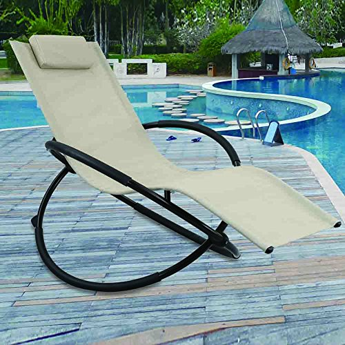 GREARDEN Outdoor Lounge Chair Orbital Zero Gravity Patio Chaise Lounge Rocking Lounger with Removable Pillow Capacity 265 Pounds by GREARDEN