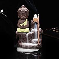 Shiva Arts Meditating Monk Buddha Smoke Backflow Cone Incense Holder Decorative Showpiece with 10 Free Smoke Backflow Scented Cone Incenses