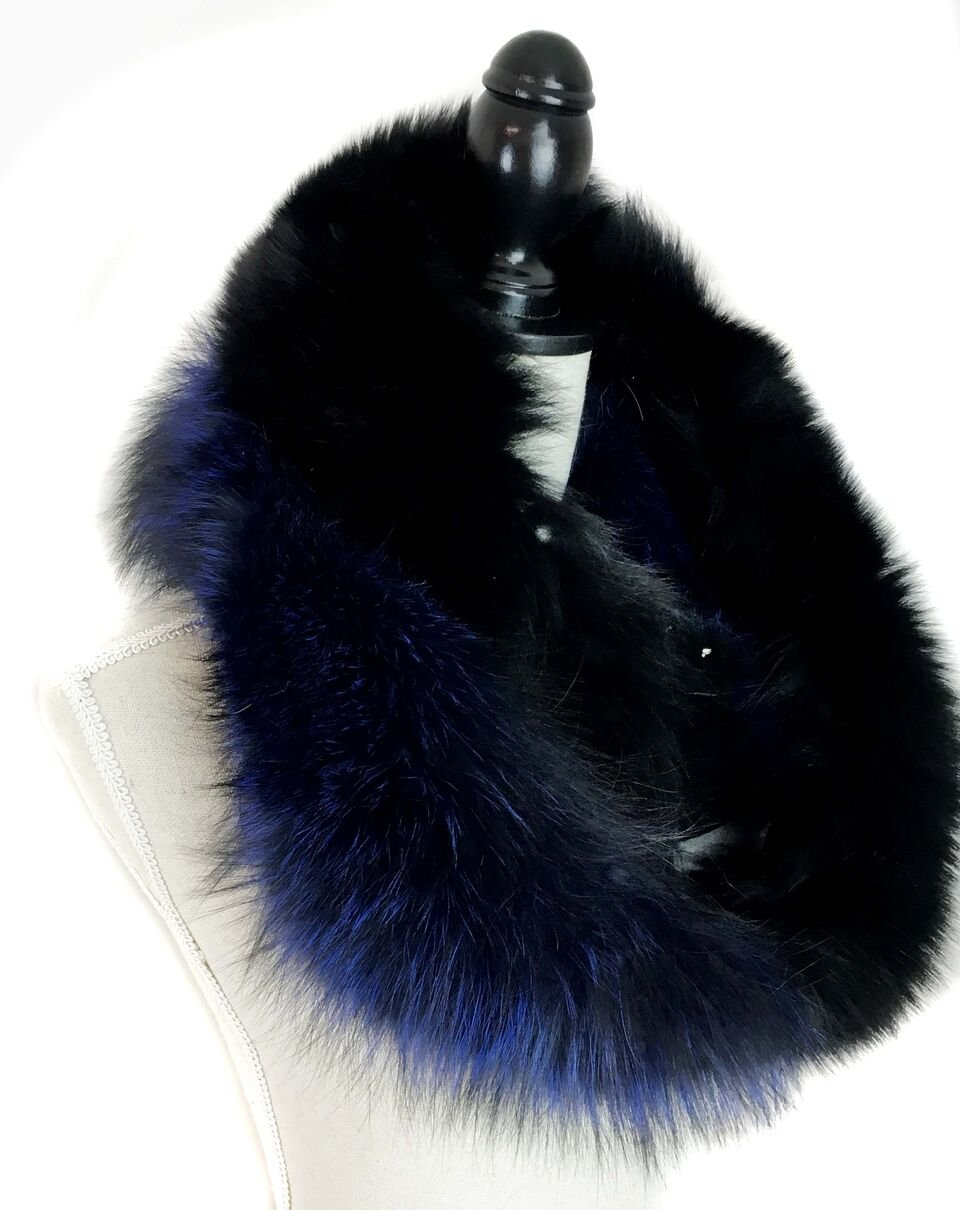 Surell Dyed Fox Fur Scarf - Womens Luxury Neck Wrap - Perfect Winter Fashion Gift (Blue) by surell (Image #5)