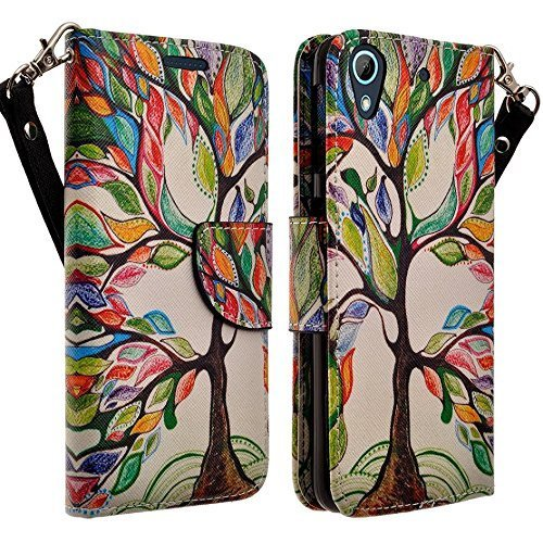 Apple iPod Touch 6th, 5th Generation Case - Wydan (TM) Hybrid Credit Card Wallet Flip Book Style Case Cover - Artsy Tree