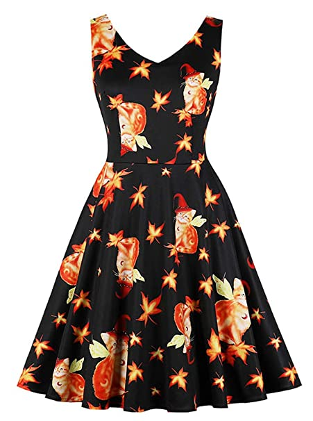 18c3b40a845 Killreal Women s Vintage Cat Pattern Maple Leaf Print Cocktail Dress for  Halloween Party Black Small