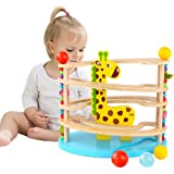 Ball Drop Toys for Babies Fawn Shape Roll Ramp Toy Wooden Educational Family Fun Toy for Baby with 3 Balls ,Montessori…