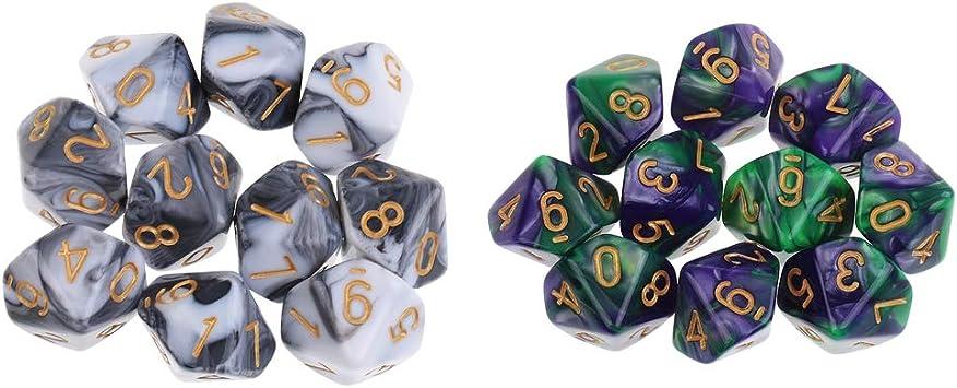 FLAMEER Dados Poliédricos de Diez Caras D10 Accesorios para Juegos de Mesa Dungeons and Dragons MTG RPG: Amazon.es: Juguetes y juegos