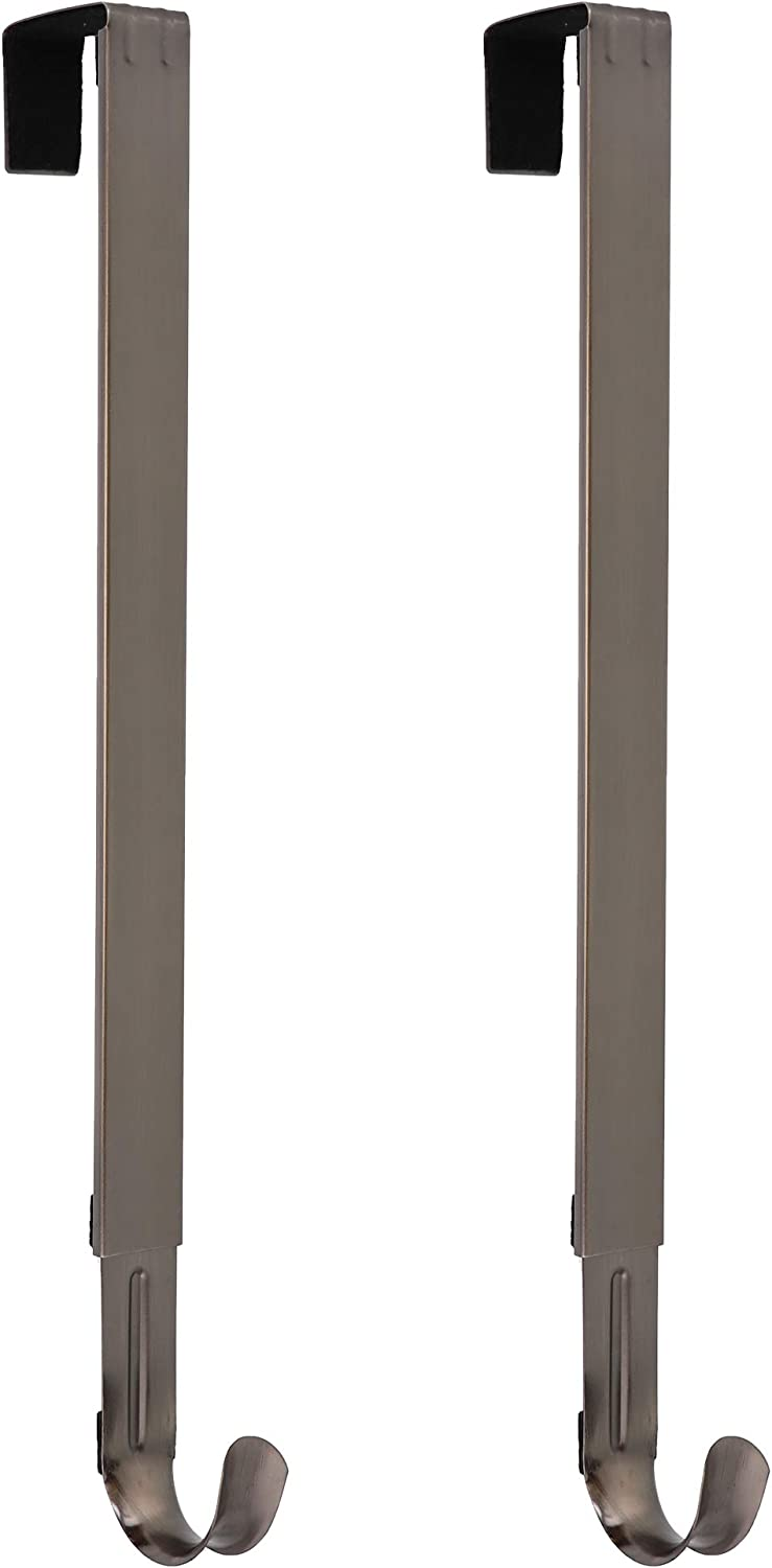 Haute Decor Adapt Adjustable Length Wreath Hanger - 2PACK - Holds up to 20 lbs (Brushed Nickel)