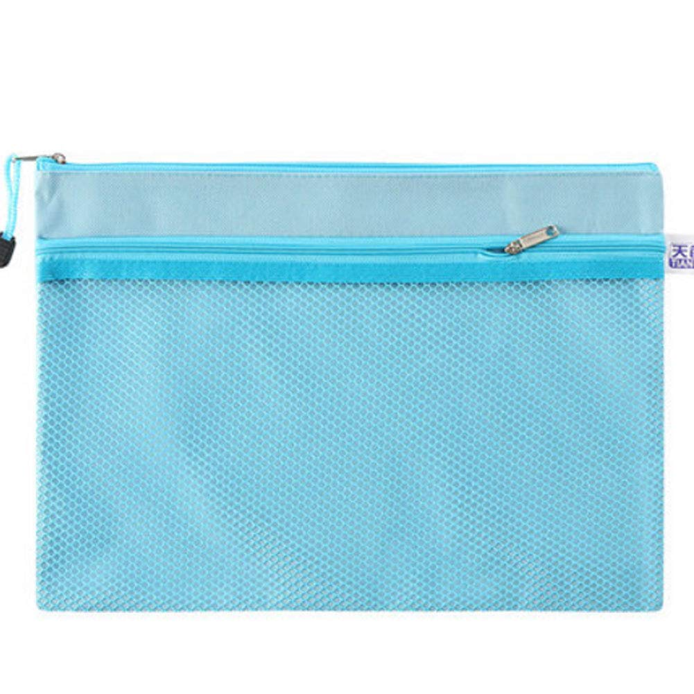 Multifunctional A4 Zip File Folder Mesh Document Bag Storage Pouch with Zipper, Office Stationery, D
