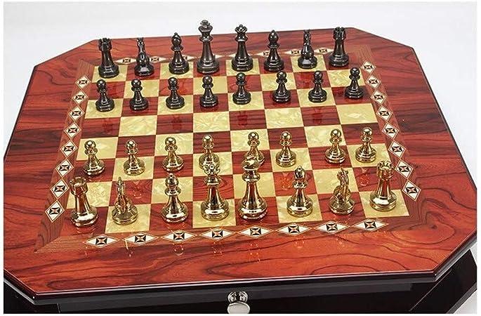 Love lamp Estilo Europeo Octogonal Juego de ajedrez Retro del Metal de aleación de Zinc de ajedrez del cajón de Almacenamiento de ajedrez Family Party Box Profesional Juego Juego de Mesa: Amazon.es: