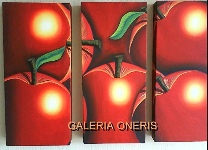 Cuadros decorativos modernos 3 piezas - Pintura Manzanas triptico ...