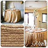 TRLYC 5 Pcs 2018 New Design Gold Round Sequined Tablecloth for Wedding Party Banquet--72-Inch