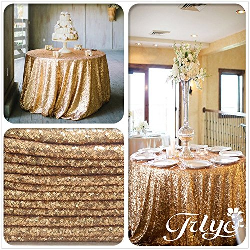 TRLYC 5 Pcs 2018 New Design Gold Round Sequined Tablecloth for Wedding Party Banquet--72-Inch by TRLYC