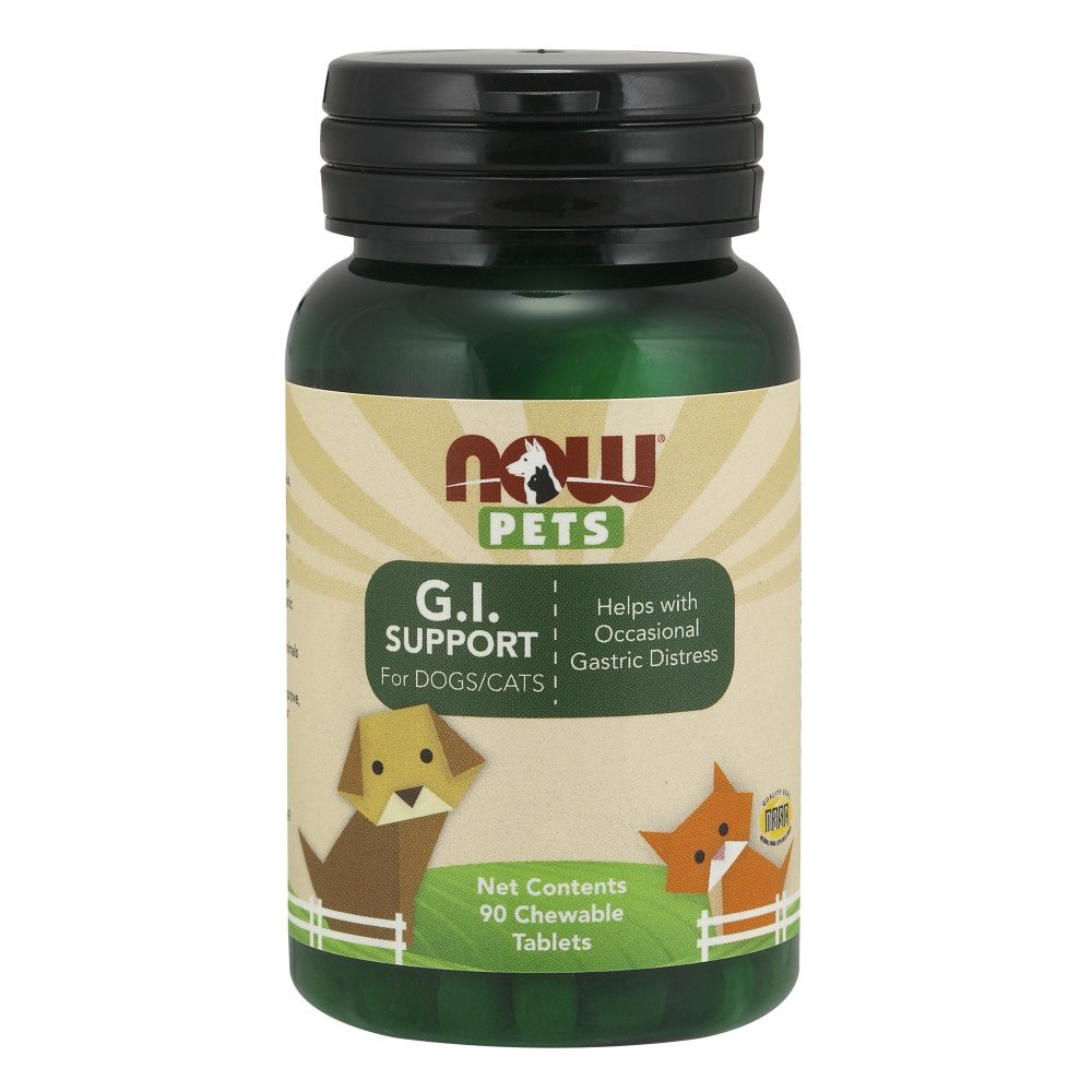 NOW Pet Health, G.I. Support Supplement, Formulated for Cats & Dogs, NASC Certified, 90 Chewable Tablets by NOW Pets