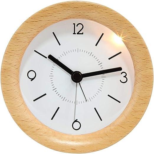 AUNMAS Reloj Despertador Redondo de Madera con Reloj de Mesa con ...