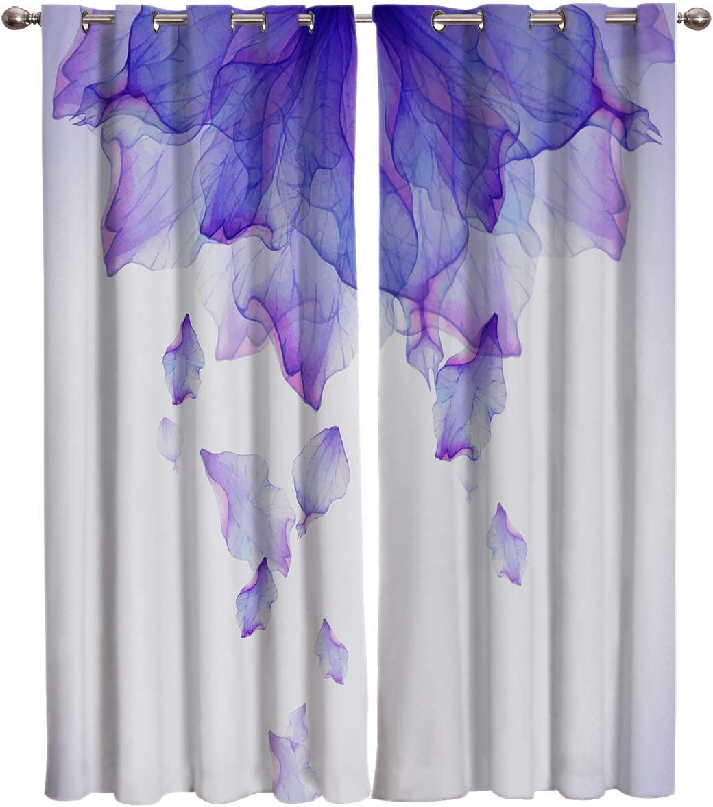 FortuneHouse8 Blackout Curtains Thermal Insulated Purple Mandala Ink Watercolor Romantic Room Drapes Window Curtain for Bedroom Living Room Set of 2 Curtain Panels Home Fashion 52x72inch