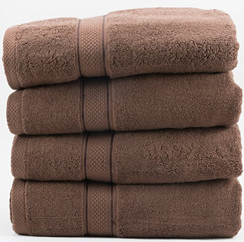 Hotel Sheets Direct 100% Cotton Towel Sets (Set of 4, Brown)