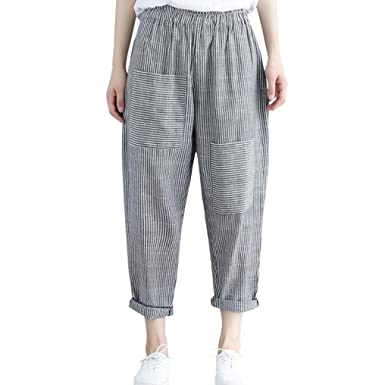 3c0ae5f24d999 Sixcup Women Retro Striped High Waist Casual Loose Elastic Waist Trousers  Harem Pants Ladies Pants Cropped Boyfriend Ankle-Length Harem Pants   Amazon.co.uk  ...