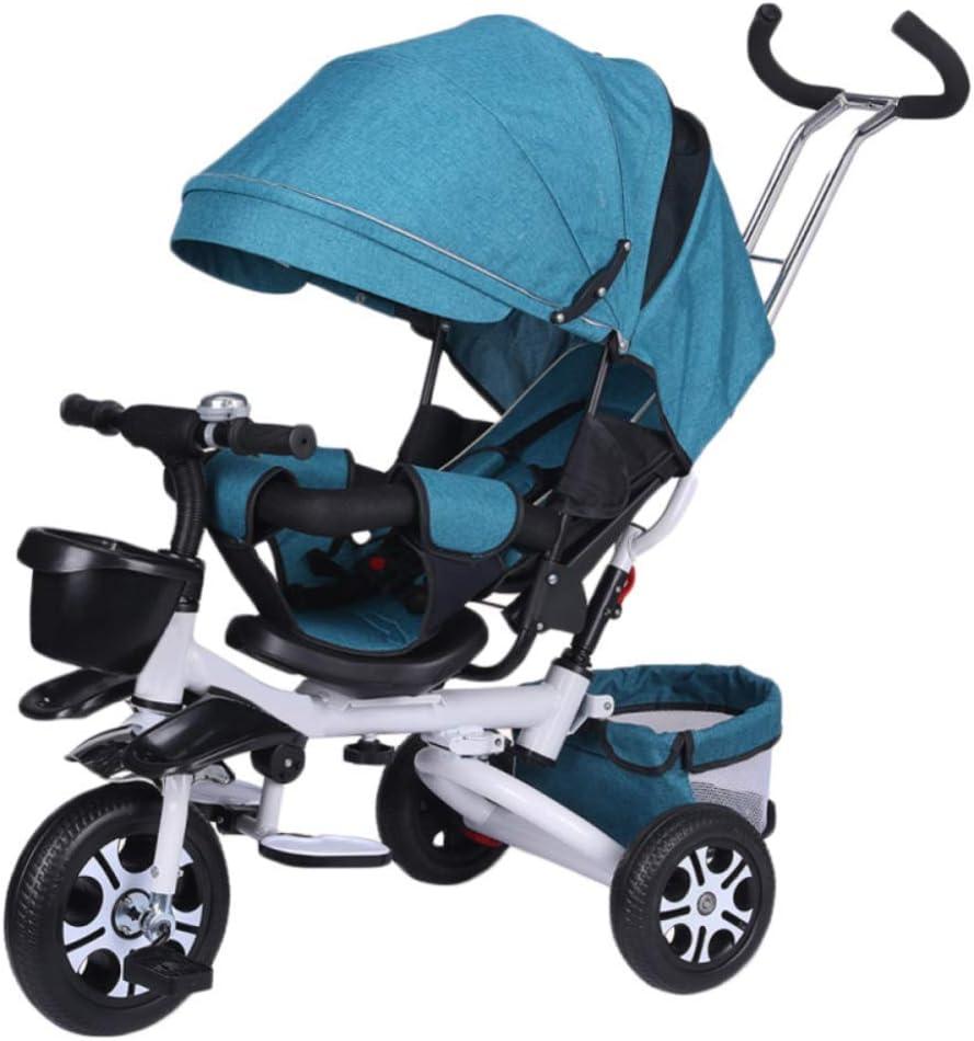 LZQBD Children's Fun/Niños de los niños del Triciclo Triciclo del Cochecito Primera Bicicleta Plegable 4 In1 WiRemovable Empuje Barra de la manija Wi360 ° Giratorio y reclinable 1-6years Viejo, E