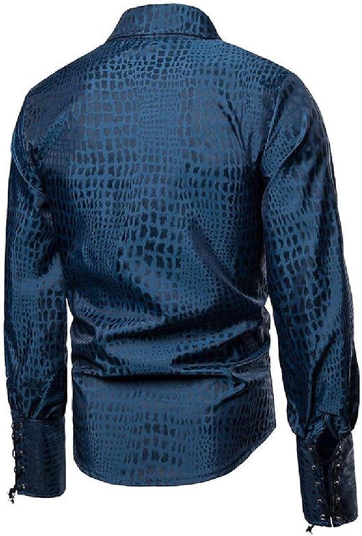 Fensajomon Men Gentlemen Vintage Lace Up Plaid Print Lapel Long Sleeve Middle-Ages Shirt