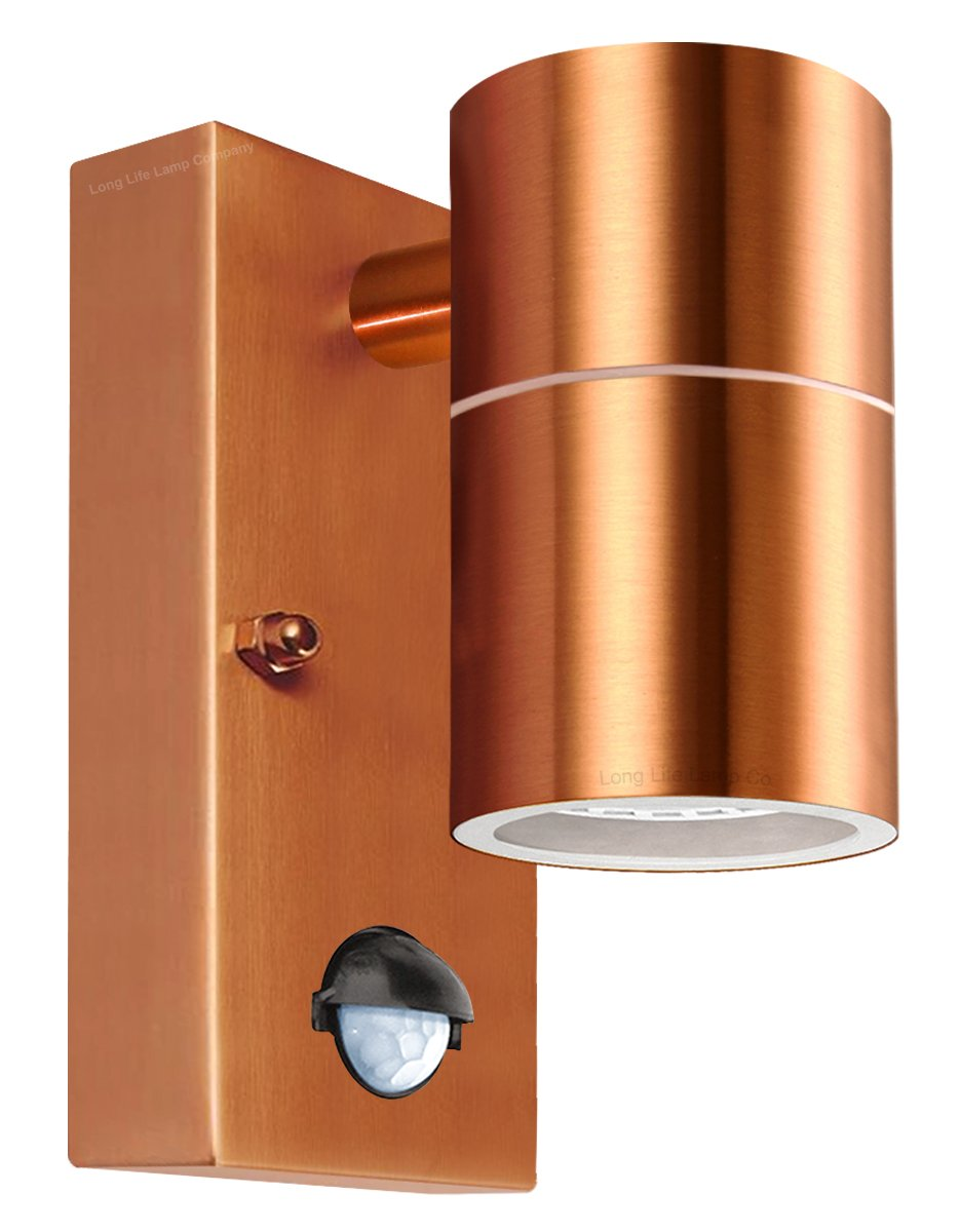 2 x Copper Finish Outdoor Exterior Adjustable Tilt Wall Lights 240V 35W GU10