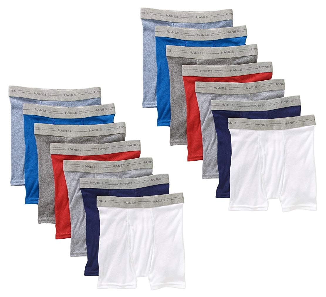 Hanes Boys 14-Pack Exposed Waistband Assorted Color Tagless Boxer Briefs B74P14
