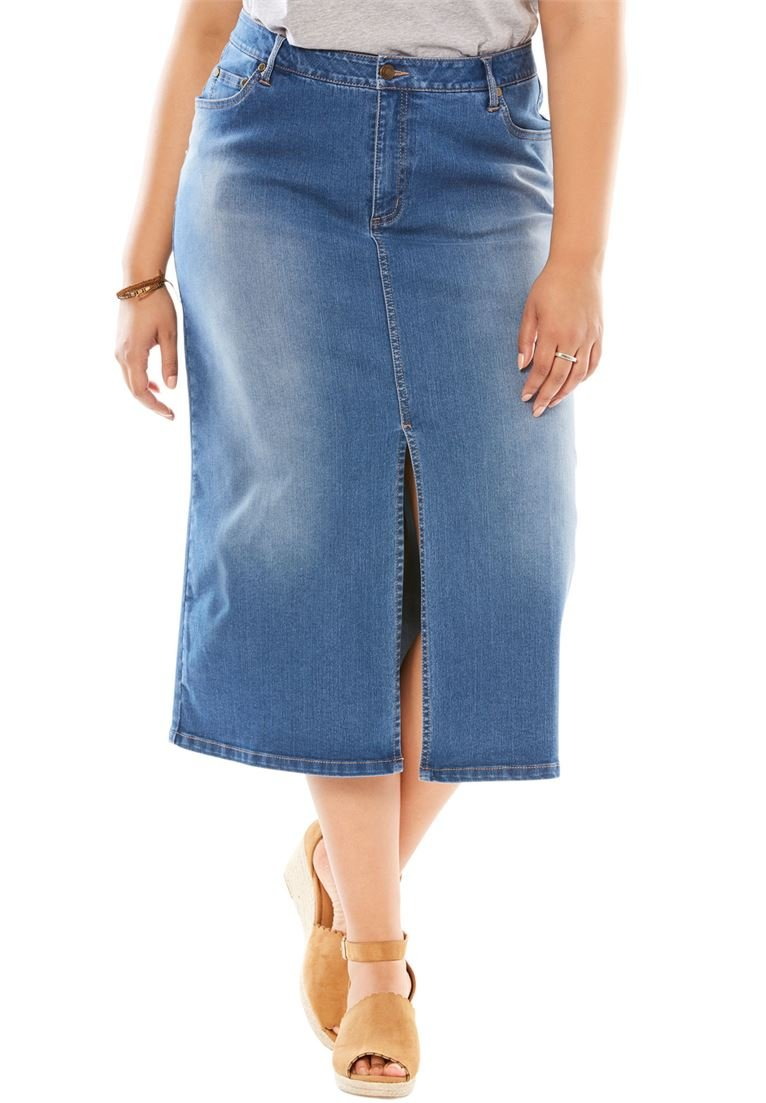 Woman Within Women's Plus Size Front Slit Stretch Jean Skirt