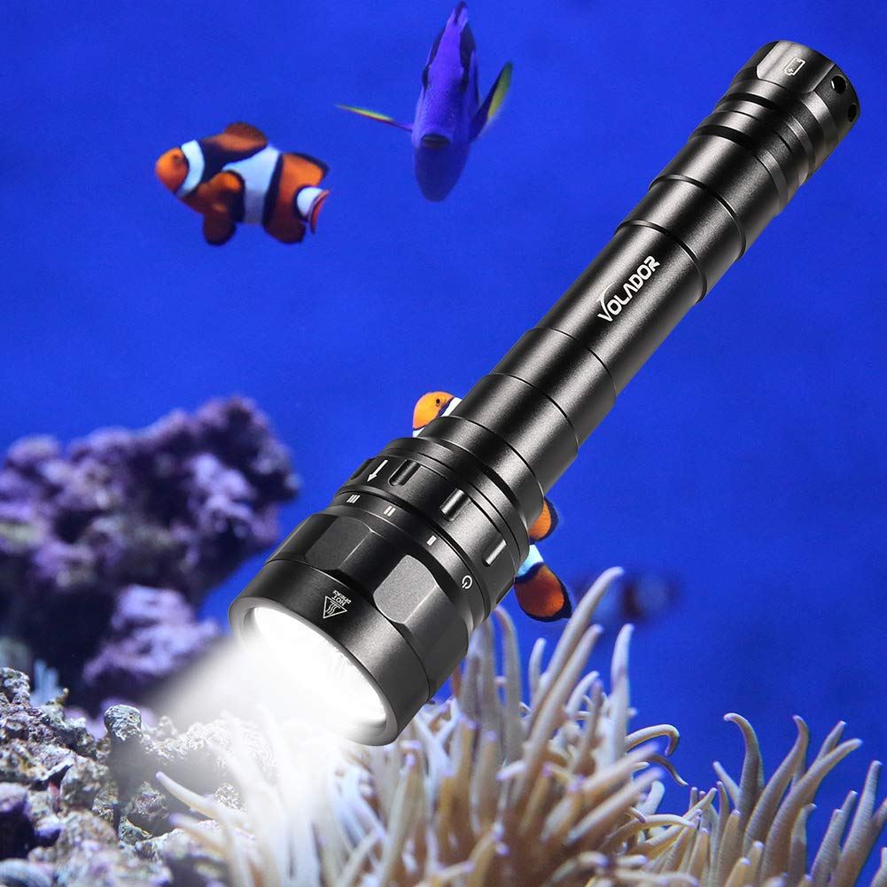 Underwater Flashlight, VOLADOR 3100lm Professional Rechargeable Diving Light, Waterproof Dive Lamp for Scuba Night Dive with Battery and Charger