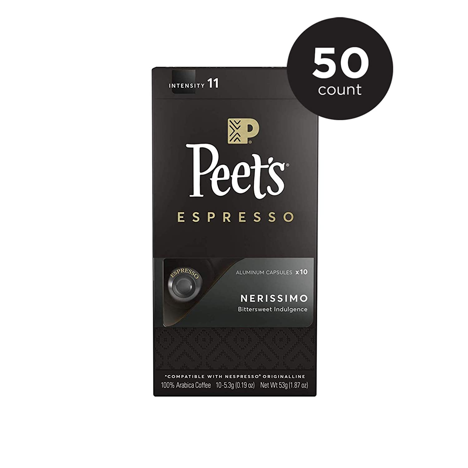 Peet's Coffee Espresso Capsules Nerissimo Intensity 11 (50 Count) Compatible with Nespresso Original Brewers Single Cup Coffee Pods