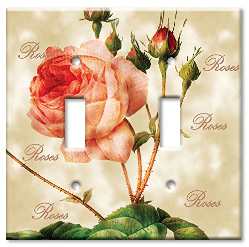 Art Plates - Redoute Roses Switch Plate - Double Toggle