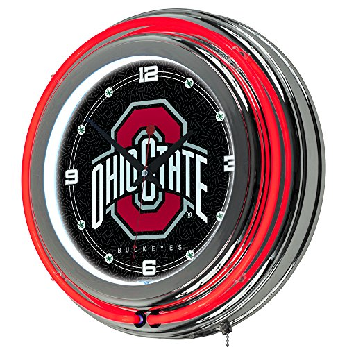 NCAA Ohio State University Chrome Double Ring Neon Clock, - University Clock State Neon