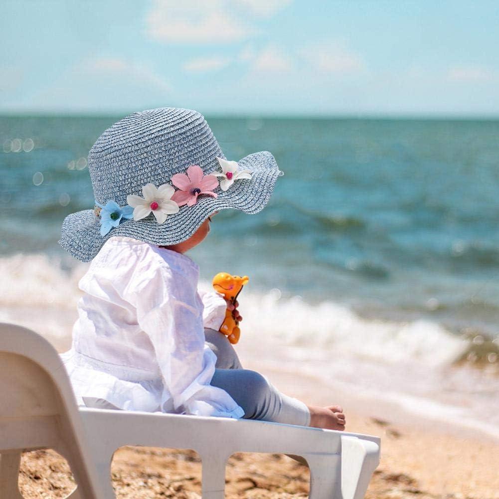 Domybest Cappello di Paglia Bambino con Visiera e Ghirlanda Decorativa Cappello da Sole Estivo Cappellino da Spiaggia Bambina in Paglia