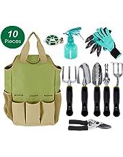 Gardening Tools Set and Organizer Tote Bag with 10 Piece Garden Tools,Best Garden Gift Set,Vegetable Gardening Hand Tools Kit Bag with Garden Digging Claw Gardening Gloves