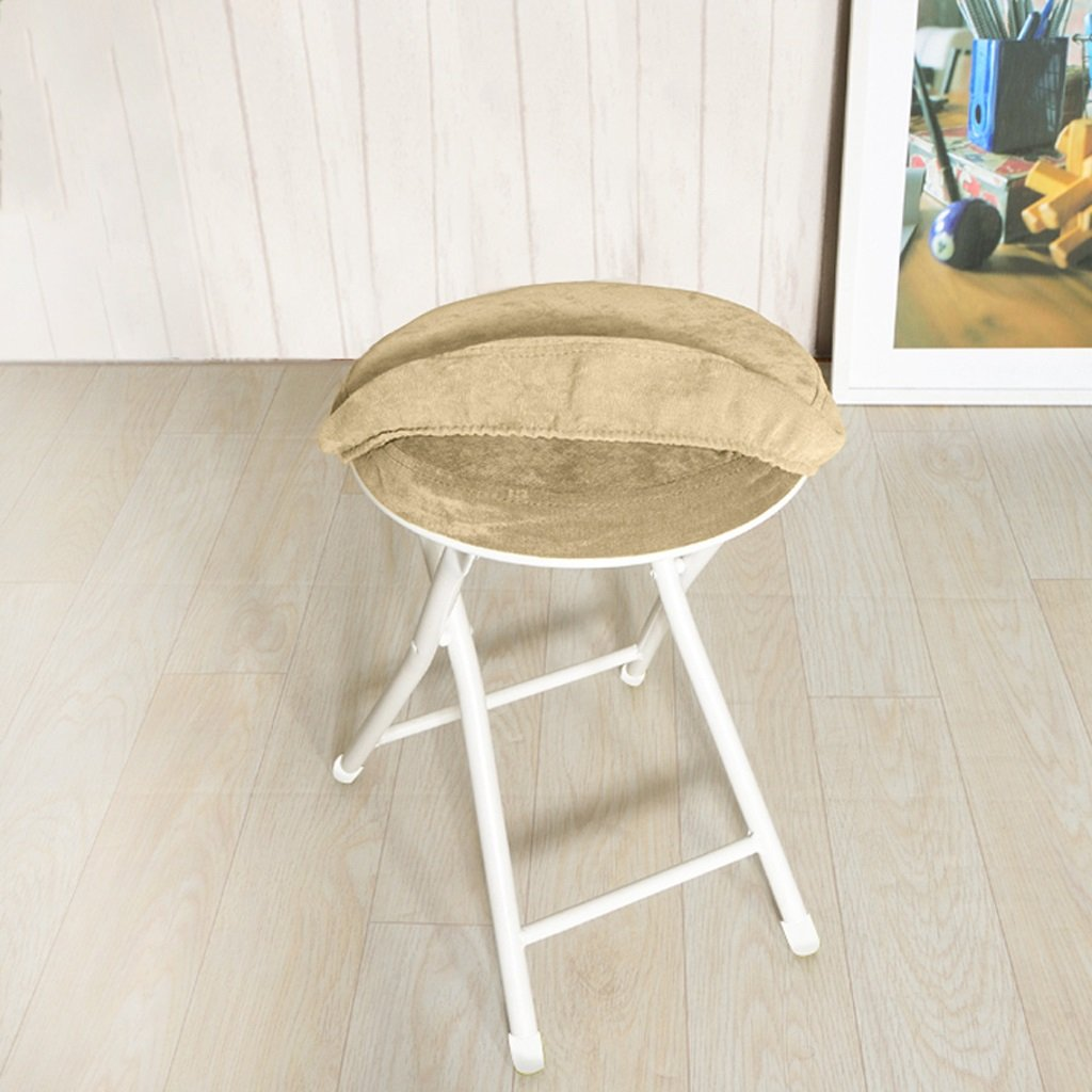 WANGXIAOLIN Household Folding Round Stool Removable Folding Stool 10 Cm Wide (Color : Khaki)