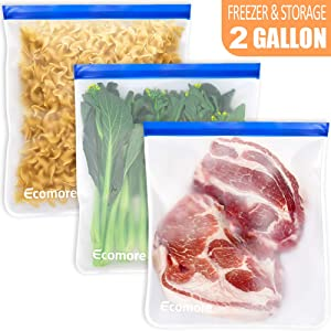 Ecomore Reusable 2 Gallon Freezer Bags - 3 PCS 2 Gallon Ziplock Food Storage Bags LEAK-PROOF EXTRA THICK Reusable Lunch Sandwich Bags for Meat, Vegetable, Fruit, Oat, Toy, Snack, Home Organization