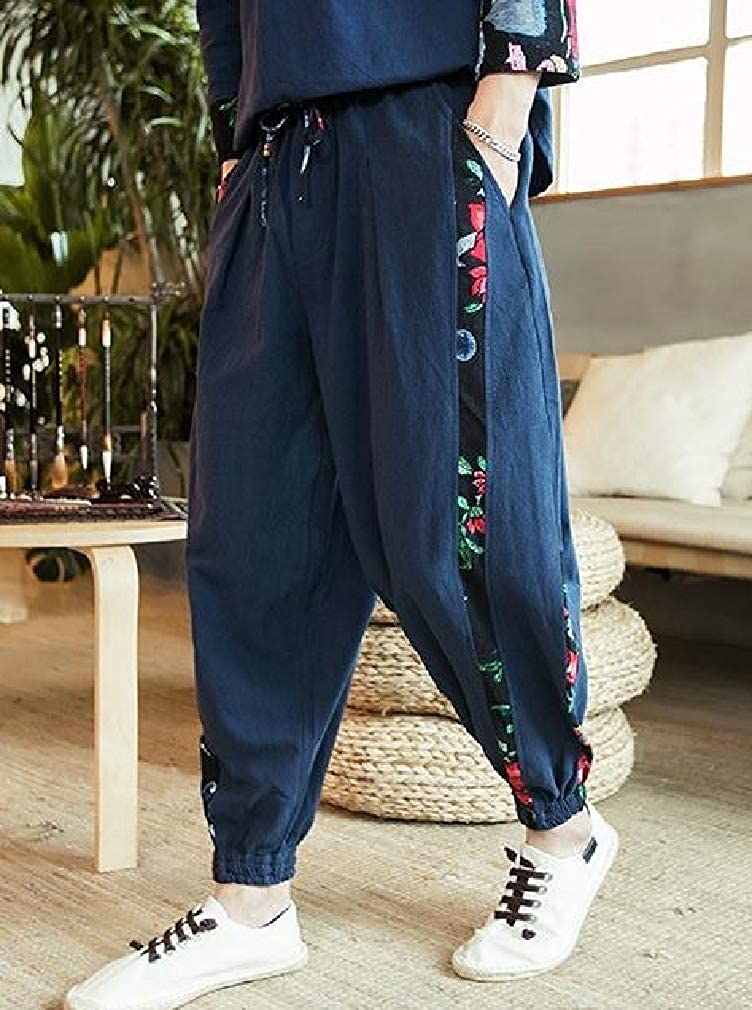 VITryst-Men Elastic Waist Stitching Linen Retro Haren Pants Beam Foot Casual-Pants