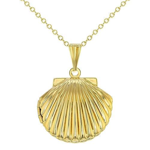 miglior servizio 4984b 433f7 Collana con ciondolo portafoto a forma di conchiglia marina, per donne e  ragazze, catena lunga 48,26 cm