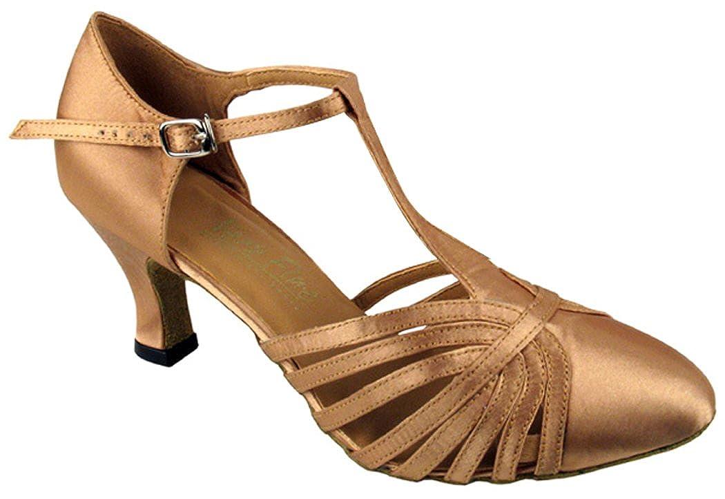 [DanceNwear] レディース B0147P8V72 ブラウンサテン 9 B(M) US