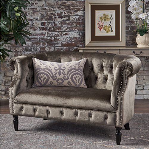 Melaina Grey Velvet Loveseat – Tufted Rolled Arm Velvet Chesterfield Loveseat Couch