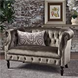 Melaina Grey Velvet Loveseat - Tufted Rolled Arm Velvet Chesterfield Loveseat Couch