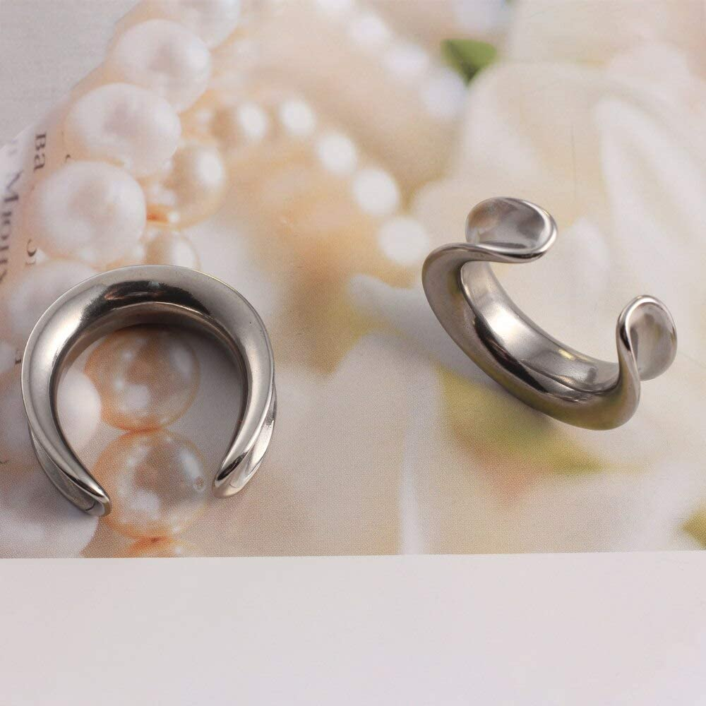 Casvort 2 PCS New Stainless Steel Saddle Weights Ear Tunnel Plug Piercing Expander Ear Gauges Stretchers Fashion Body Piercing Jewelry 0g-1