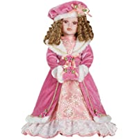Kelly Winter Victorian Christmas Collectible Porcelain Doll Dressed in Faux Fur Pink Dress - 16″ H