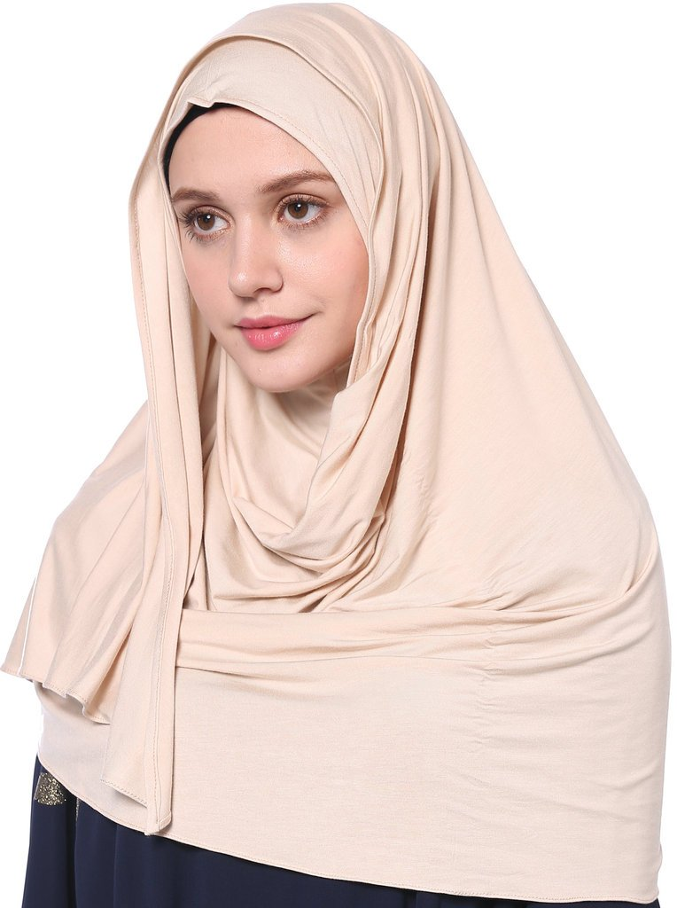 YI HENG MEI Women's Modest Muslim Islamic Soft Solid Cotton Jersey Inner Hijab Full Cover Headscarf,Khaki
