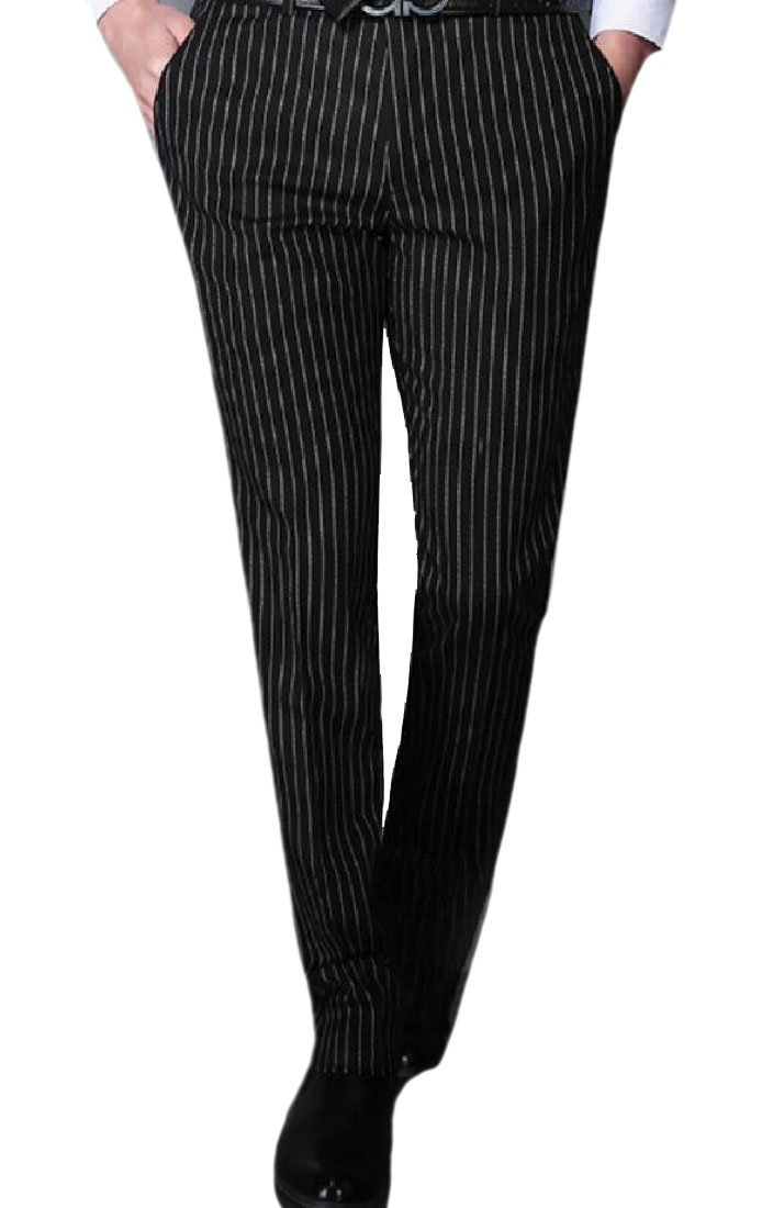 Vivi-Men Straight Striped British Style Wedding Plain-Front Pant Black L