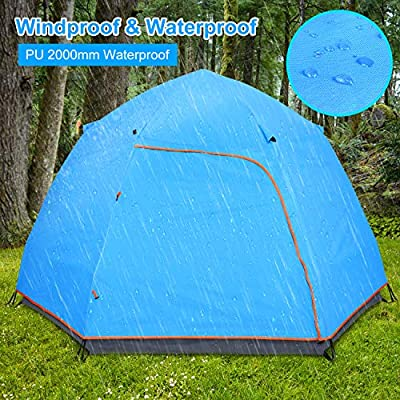 "BATTOP 3-4 Person Tent for Camping Instant Tent Easy Setup Waterproof for Camping Unfolds Dimensions 106.1"" Lx106.1 W x58.9 H"