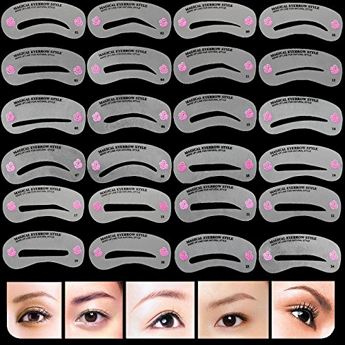 - 24 Pcs Pro Reusable Eyebrow Stencil Set Eye Brow DIY Drawing Guide Styling Shaping Grooming Template Card Easy Makeup Beauty Kit
