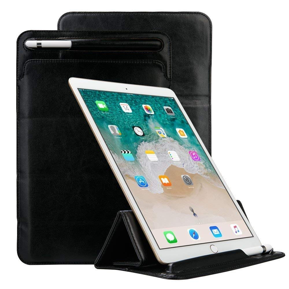iPad Pro Sleeve Case Pro 11 inch 2018 with Pencil Holder, Businda Ultra Slim Soft PU iPad Pro Leather Protective Case Cover Tri-fold Stand Compatible with iPad Pro 11Multiple Viewing Angles, Black by Businda
