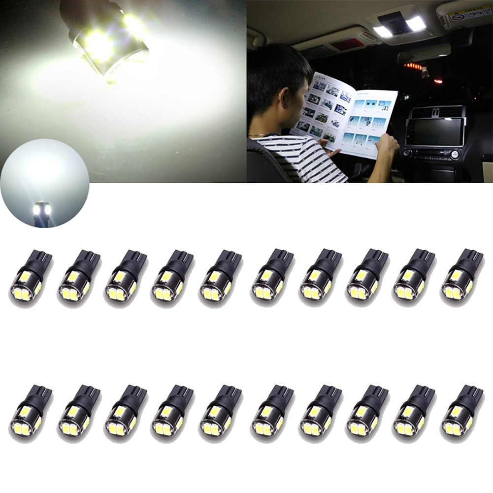 TUINCYN Extremely Bright 450 Lumens 5630 6SMD 168 194 2825 175 921 912 LED Bulbs Chipsets Red Interior Dome Light Bulbs Backup Lights Trunk Side Marker Lights 2W 12V (Pack of 10)